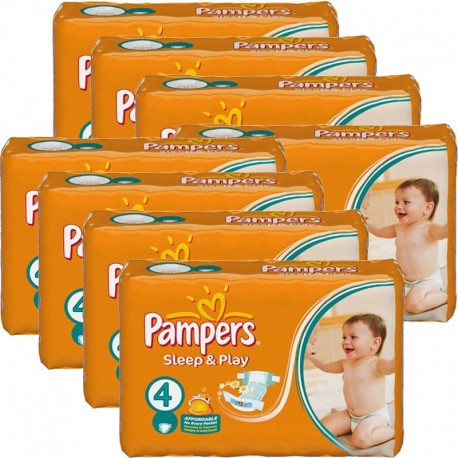 Giga Pack 540 Couches Pampers Sleep & Play taille 4 sur Couches Zone