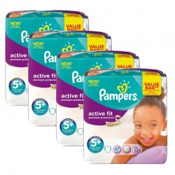 Maxi Giga Pack 128 Couches Pampers Active Fit - Premium Protection taille 5+ sur Couches Zone