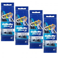 Lot de 4 Packs Gillette Blue3 Rasoirs Jetables 8 pc.Edition Football sur Couches Zone