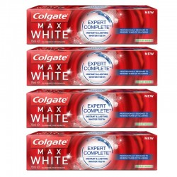 Lot 4 Dentifrices Colgate Max White Expert Complete Mild Mint sur Couches Zone