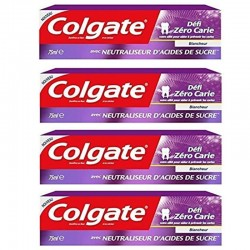 Lot 4 Dentifrices Colgate Blancheur Defi Zero Carie sur Couches Zone