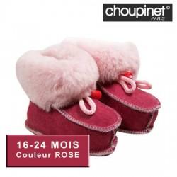 Chaussons bébé en Agneau Mérinos 16-24 MOIS Couleur ROSE sur Couches Zone