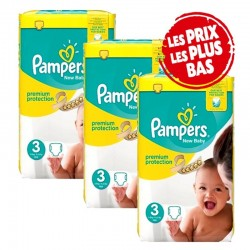 Mega Pack 200 Couches Pampers New Baby - Premium Protection taille 3 sur Couches Zone