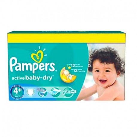 Pack 96 Couches Pampers Active Baby Dry taille 4+ sur Couches Zone