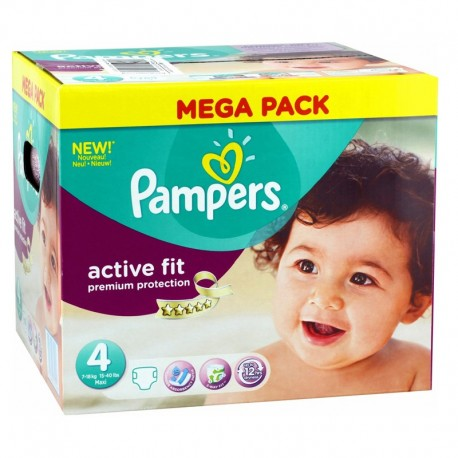 Pack 168 Couches Pampers Active Fit Premium Protection taille 4 sur Couches Zone