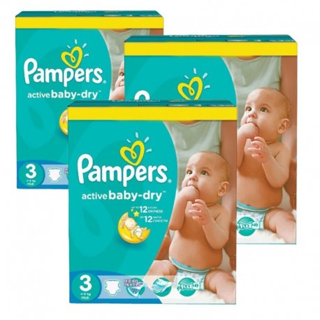 Mega Pack 216 Couches Pampers Active Baby Dry taille 3 sur Couches Zone