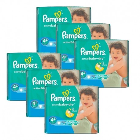 Maxi Pack 288 Couches Pampers Active Baby Dry taille 4+ sur Couches Zone