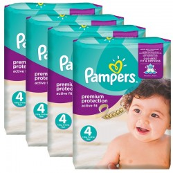 Giga Pack 336 Couches Pampers Active Fit - Premium Protection taille 4 sur Couches Zone