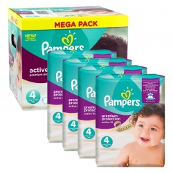 Giga Pack 504 Couches Pampers Active Fit - Premium Protection taille 4