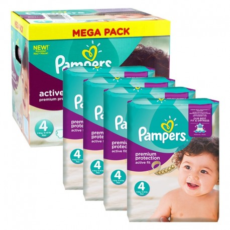 Giga Pack 504 Couches Pampers Active Fit - Premium Protection taille 4 sur Couches Zone