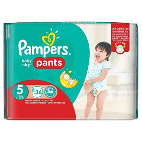 Pack 36 Couches Pampers Baby Dry Pants taille 5 sur Couches Zone