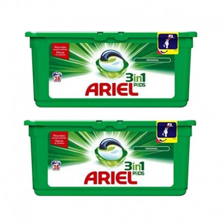Lot de 2 Ariel Pods 28 Original 3in1 (795,2 gr) sur Couches Zone