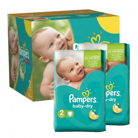 Maxi Giga Pack 210 couches Pampers Baby Dry sur Couches Zone