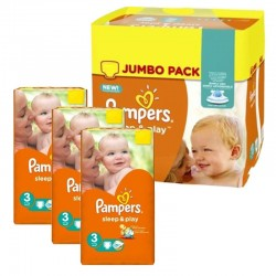 Maxi Pack 328 Couches Pampers Sleep & Play taille 3
