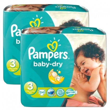 Maxi Pack 170 Couches Pampers Baby Dry taille 3 sur Couches Zone
