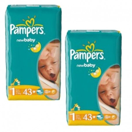 Pack 86 Couches Pampers New Baby Dry taille 1 sur Couches Zone