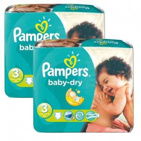102 Couches Pampers Baby Dry taille 3 sur Couches Zone