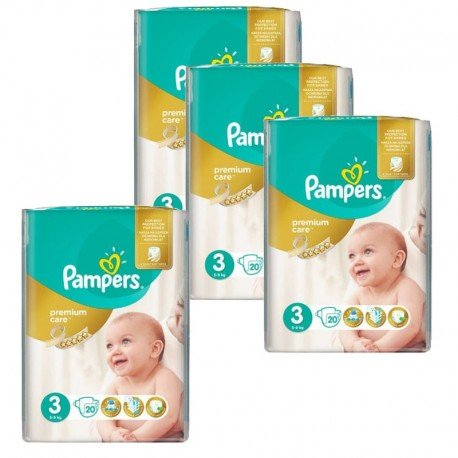 Giga Pack 100 Couches Pampers Premium Care - Prima taille 3 sur Couches Zone