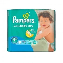 Pack 70 Couches Pampers Active Baby Dry taille 4+ sur Couches Zone