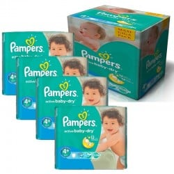 Maxi Pack 350 Couches Pampers Active Baby Dry taille 4+ sur Couches Zone