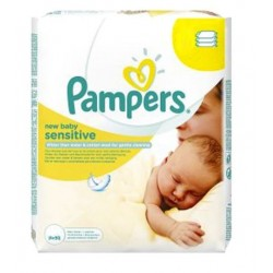 56 Lingettes Bébés Pampers New Baby Sensitive sur Couches Zone