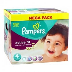 Pack 82 Couches Pampers Active Fit - premium protection taille 4 sur Couches Zone