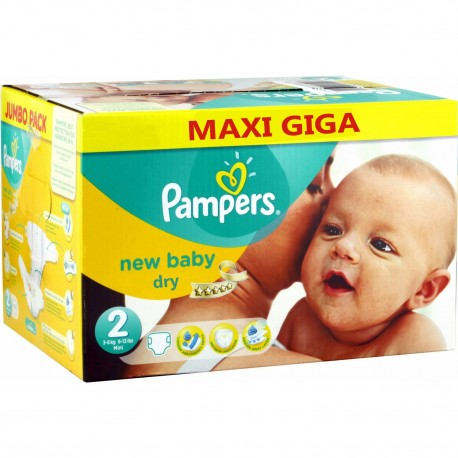 Giga pack 258 Couches Pampers New Baby Dry sur Couches Zone