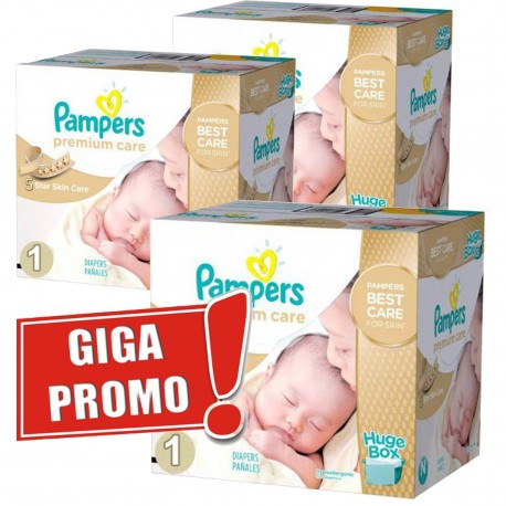 Pack jumeaux 528 Couches Pampers Premium Care taille 1 sur Couches Zone