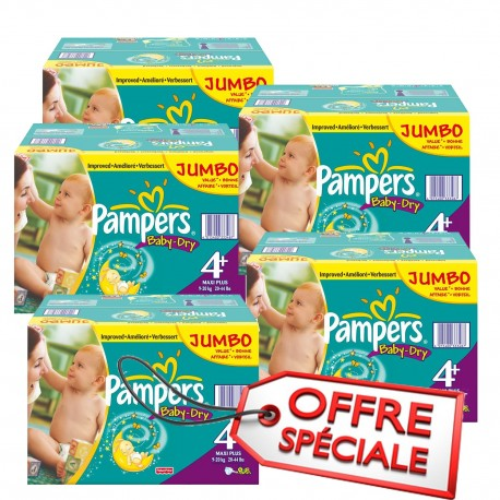 Mega pack 123 Couches Pampers Baby Dry taille 4+ sur Couches Zone