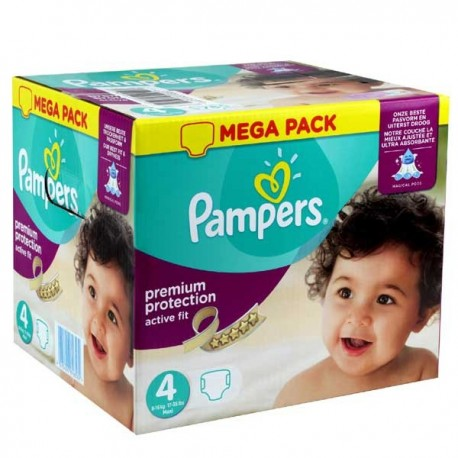 Maxi mega pack 492 Couches Pampers Active Fit Premium Protection taille 4 sur Couches Zone