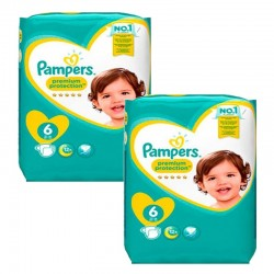 Pack jumeaux 760 Couches Pampers New Baby Premium Protection taille 6 sur Couches Zone