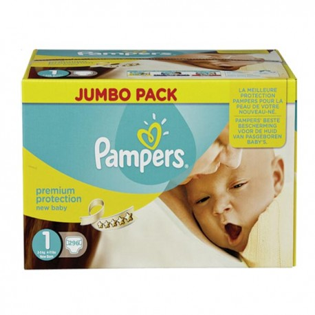 Pack jumeaux 864 Couches Pampers New Baby Premium Protection taille 1 sur Couches Zone