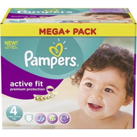 Pack jumeaux 672 Couches Pampers Active Fit Premium Protection taille 4 sur Couches Zone