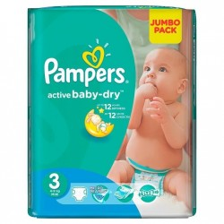 Pack 82 Couches Pampers Active Baby Dry taille 3 sur Couches Zone