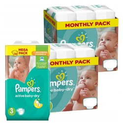 Maxi giga pack 328 Couches Pampers Active Baby Dry taille 3