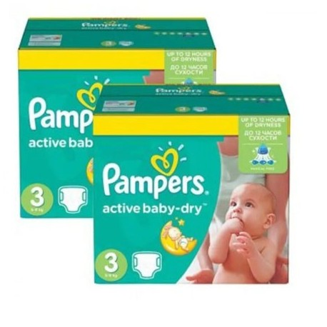Pack jumeaux 574 Couches Pampers Active Baby Dry taille 3 sur Couches Zone