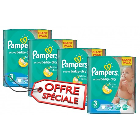 Pack jumeaux 656 Couches Pampers Active Baby Dry taille 3 sur Couches Zone