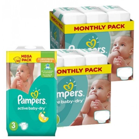 Pack jumeaux 738 Couches Pampers Active Baby Dry taille 3 sur Couches Zone