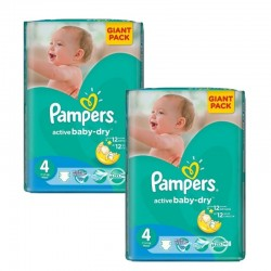 Pack jumeaux 700 Couches Pampers Active Baby Dry taille 4 sur Couches Zone