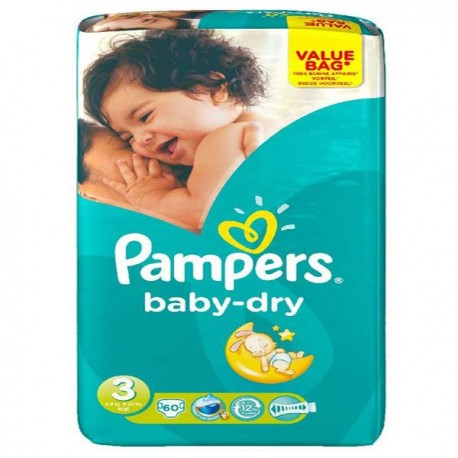 Mega pack 116 Couches Pampers Baby Dry taille 3 sur Couches Zone
