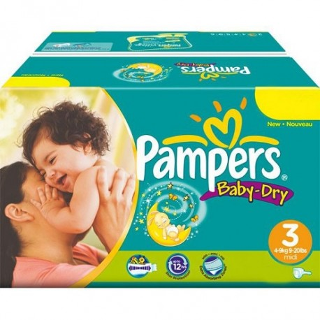 Pack jumeaux 928 Couches Pampers Baby Dry taille 3 sur Couches Zone