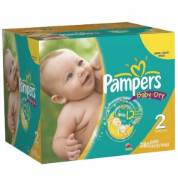 Maxi mega pack 406 Couches Pampers Baby Dry taille 2 sur Couches Zone