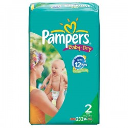 Pack jumeaux 580 Couches Pampers Baby Dry taille 2 sur Couches Zone