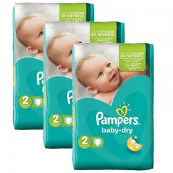 Pack jumeaux 638 Couches Pampers Baby Dry taille 2 sur Couches Zone