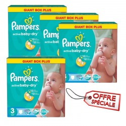 Pack 30 Couches Pampers Active Baby Dry taille 3 sur Couches Zone