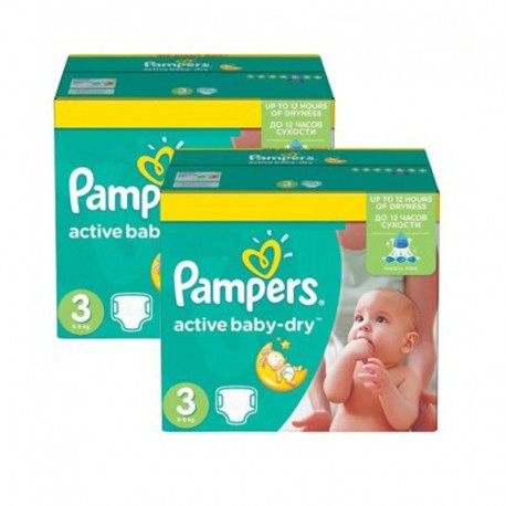 Pack 45 Couches Pampers Active Baby Dry taille 3 sur Couches Zone