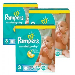 Pack 75 Couches Pampers Active Baby Dry taille 3 sur Couches Zone