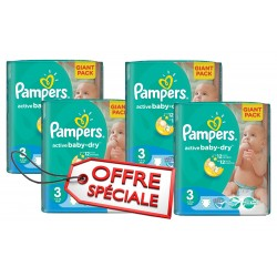 Mega pack 120 Couches Pampers Active Baby Dry taille 3 sur Couches Zone
