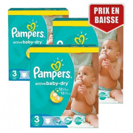Mega pack 135 Couches Pampers Active Baby Dry taille 3 sur Couches Zone