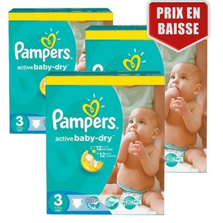 Mega pack 195 Couches Pampers Active Baby Dry taille 3 sur Couches Zone